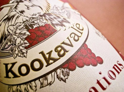 Red wine label design for Kookavale